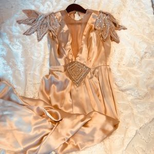 Incredible 100% Silk Rose Taft Couture Gold Gown